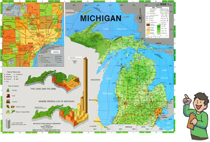 Rd Grade Text Book Meet Michigan - Ground elevation map