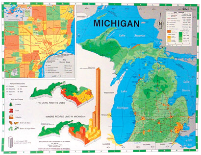 Rd Grade Maps Meet Michigan - Ground elevation map